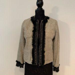 Anne Carson Petite Crop Blazer w Fur Sz P/M